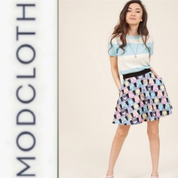 a6e5f93990a144 Modcloth Skirts | Fervour Clever Cat Skater Skirt | Poshmark